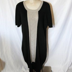 black beige taupe knit sweater dress short sleeves
